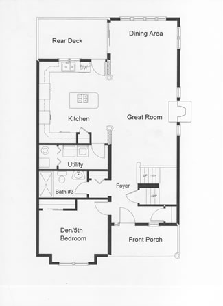 Open floor plan kitchen, dining and great rooms. First floor plan includes a den which can be converted to a future bedroom.