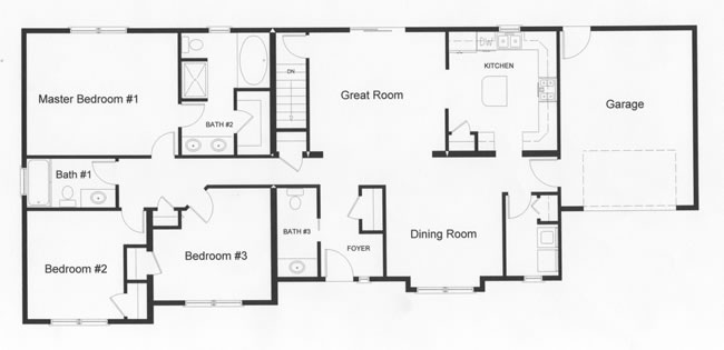 The large 3 bedrooms on the left side of the home provide privacy in this open floor plan design.