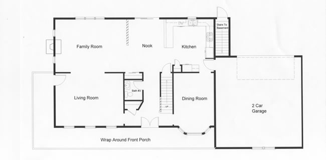 Open floor plan provides 1470 square feet of modular home design. Access to the full basement from the rear exterior was designed into this modular home floor plan.