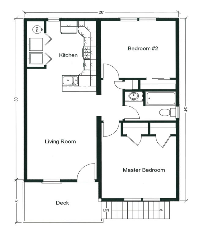 Design features an open living plan and two generously sized bedrooms