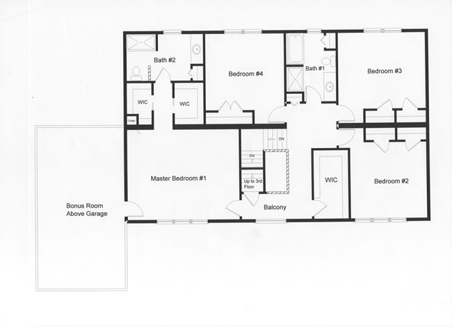 Efficient 4 bedroom floor plan. Distinctive master bedroom and bath on the second floor.