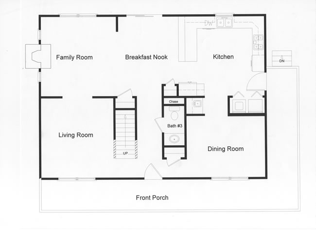 28 ft wide by 38 ft long, custom modular open floor plan large country kitchen and open living space