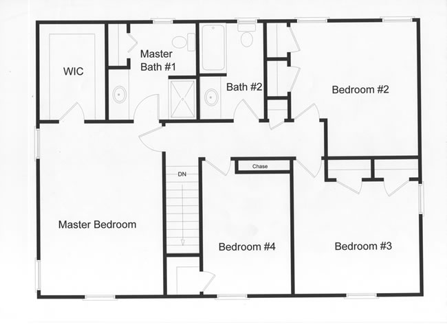 4 bedroom, 2 full baths and large master bedroom.  Efficient use of custom modular floor plan design