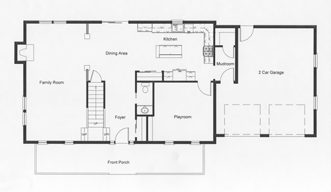 Designed with the open floor plan in mind the homeowners also incorporated a playroom for the kids on the first floor. Access to the second floor from the family room or foyer was intentionally designed into the modular home floor plan.