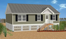 Ranch style open modular floor plan.