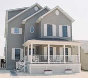 Distinctive Jersey Shore 5 or 6 bedroom, 3 full bath home on a narrow lot received the Home of the Month award by the modular home manufacturer.