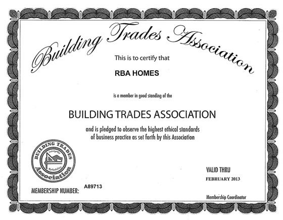 Building Trades Association Certificate 2012