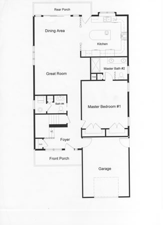 Open floor plan area with large windows leading to a rear deck. Large custom designed modular kitchen, and integral garage and first floor bedroom.