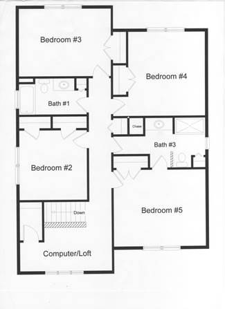 4 bedrooms, 2 full baths and computer room in this distinctive floor plan. Steps to attic storage area, open computer room and large master bedroom and bath area.