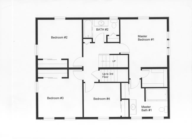This well designed modular floor plan provides 4 bedrooms on the second floor. Notice the utilization of maximum living space with fewer hallways in this modular home plan with walk-up attic stairs.