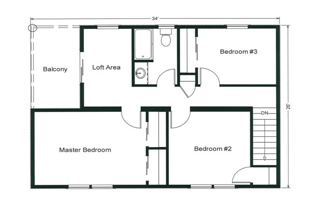 second floor loft and balcony area is a wonderful place to relax on a summer evening - Second Floor Floor Plans 2