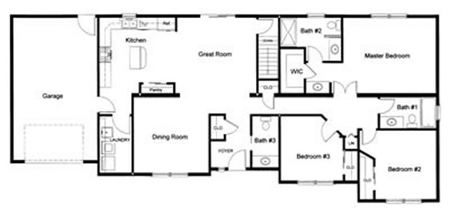 3 bedroom floor plans monmouth county ocean county new for Floor plan 3 bedroom 2 bath
