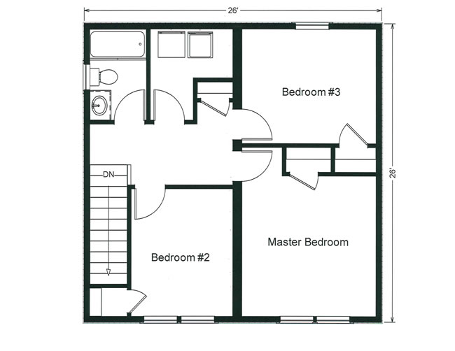 compact three bedroom design with convenient 2nd floor washer and dryer - Second Floor Floor Plans
