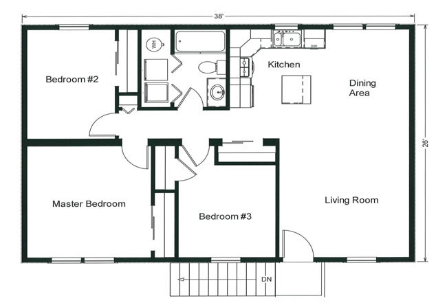 3 bedroom floor plans monmouth county ocean county new for Kitchen dining room floor plans