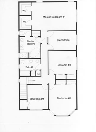 Effective use of living space with this floor plan designed by the owner. Four or five bedrooms large master bedroom and both with whirlpool tub and shower.