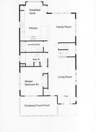 open floor plan kitchen and family room leads to large rear deck - Large Living Room House Plans