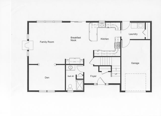 The RBA Homes design team and the homeowner spent many hours planning the open floor plan that this home provides. A full bath on the first floor was an important factor in planning. The den can become a bedroom if needed.