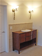 This custom vanity and drop-in sink give this bath in Millstone Twp. NJ, a special, elegant look