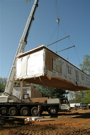 Modular home on-site delivery and set.